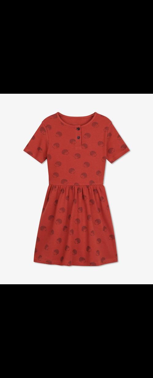 Rotes Kleid Mit Igelprint